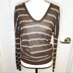 Vince Scoop Neck Striped Sweater
